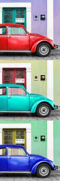 ¡Viva Mexico! Panoramic Collection - Three VW Beetle Cars with Colors Street Wall XXXV by Philippe Hugonnard