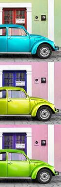 ¡Viva Mexico! Panoramic Collection - Three VW Beetle Cars with Colors Street Wall XXXVII by Philippe Hugonnard