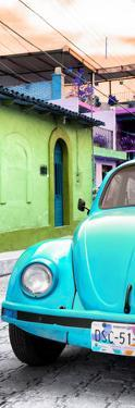 ¡Viva Mexico! Panoramic Collection - Turquoise VW Beetle Car and Colorful Houses by Philippe Hugonnard