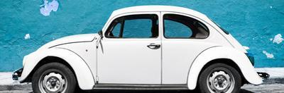 ¡Viva Mexico! Panoramic Collection - White VW Beetle Car and Blue Street Wall by Philippe Hugonnard