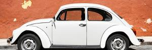 ¡Viva Mexico! Panoramic Collection - White VW Beetle Car and Brown Street Wall by Philippe Hugonnard