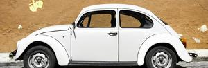 ¡Viva Mexico! Panoramic Collection - White VW Beetle Car and Caramel Street Wall by Philippe Hugonnard