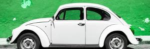 ¡Viva Mexico! Panoramic Collection - White VW Beetle Car and Green Street Wall by Philippe Hugonnard
