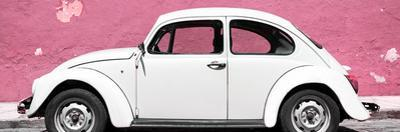 ¡Viva Mexico! Panoramic Collection - White VW Beetle Car and Light Pink Street Wall by Philippe Hugonnard