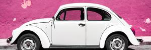 ¡Viva Mexico! Panoramic Collection - White VW Beetle Car and Pink Street Wall by Philippe Hugonnard