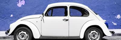 ¡Viva Mexico! Panoramic Collection - White VW Beetle Car and Royal Blue Street Wall by Philippe Hugonnard
