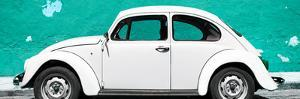 ¡Viva Mexico! Panoramic Collection - White VW Beetle Car and Turquoise Street Wall by Philippe Hugonnard