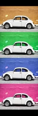 ¡Viva Mexico! Panoramic Collection - White VW Beetle Cars II by Philippe Hugonnard