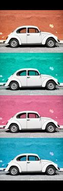 ¡Viva Mexico! Panoramic Collection - White VW Beetle Cars by Philippe Hugonnard