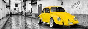 ¡Viva Mexico! Panoramic Collection - Yellow VW Beetle Car in San Cristobal de Las Casas by Philippe Hugonnard