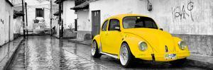 ¡Viva Mexico! Panoramic Collection - Yellow VW Beetle Car in San Cristobal de Las Casas by Philippe Hugonnard