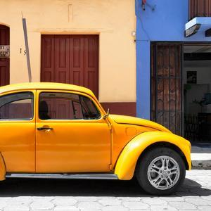"¡Viva Mexico! Square Collection - ""15 Street"" Dark Yellow VW Beetle Car by Philippe Hugonnard"