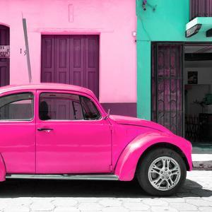 """¡Viva Mexico! Square Collection - """"15 Street"""" Deep Pink VW Beetle Car by Philippe Hugonnard"""