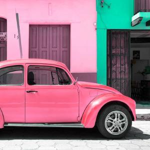 """¡Viva Mexico! Square Collection - """"15 Street"""" Hot Pink VW Beetle Car by Philippe Hugonnard"""