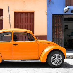 "¡Viva Mexico! Square Collection - ""15 Street"" Orange VW Beetle Car by Philippe Hugonnard"
