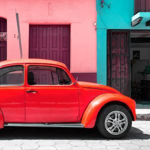 """¡Viva Mexico! Square Collection - """"15 Street"""" Red VW Beetle Car by Philippe Hugonnard"""
