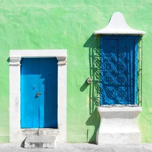 "¡Viva Mexico! Square Collection - ""172 Street"" Blue & Green by Philippe Hugonnard"