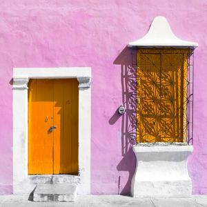 "¡Viva Mexico! Square Collection - ""172 Street"" Orange & Violet by Philippe Hugonnard"
