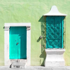 "¡Viva Mexico! Square Collection - ""172 Street"" Turquoise & Green by Philippe Hugonnard"