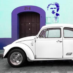 "¡Viva Mexico! Square Collection - ""21-B"" White VW Beetle Car II by Philippe Hugonnard"