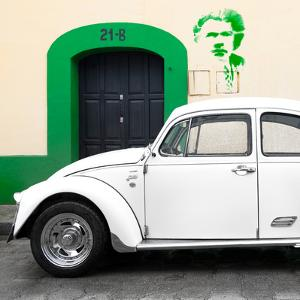 "¡Viva Mexico! Square Collection - ""21-B"" White VW Beetle Car by Philippe Hugonnard"