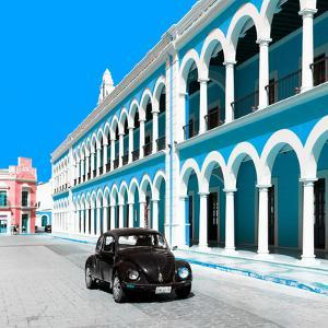¡Viva Mexico! Square Collection - Black VW Beetle and Blue Architecture in Campeche by Philippe Hugonnard