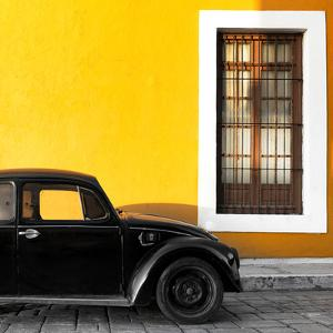 ¡Viva Mexico! Square Collection - Black VW Beetle Car with Gold Street Wall by Philippe Hugonnard