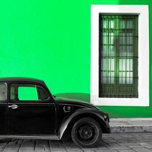 ¡Viva Mexico! Square Collection - Black VW Beetle Car with Green Street Wall by Philippe Hugonnard