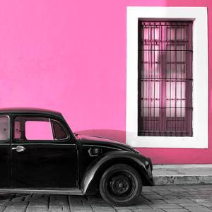 ¡Viva Mexico! Square Collection - Black VW Beetle Car with Hot Pink Street Wall by Philippe Hugonnard