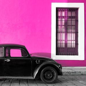 ¡Viva Mexico! Square Collection - Black VW Beetle Car with Pink Street Wall by Philippe Hugonnard