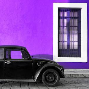 ¡Viva Mexico! Square Collection - Black VW Beetle Car with Purple Street Wall by Philippe Hugonnard