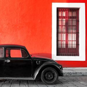 ¡Viva Mexico! Square Collection - Black VW Beetle Car with Red Street Wall by Philippe Hugonnard
