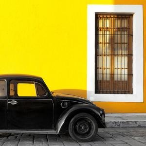¡Viva Mexico! Square Collection - Black VW Beetle Car with Yellow Street Wall by Philippe Hugonnard