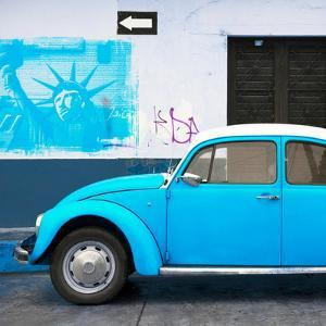¡Viva Mexico! Square Collection - Blue VW Beetle Car and American Graffiti by Philippe Hugonnard