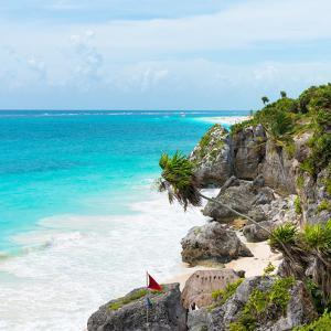 ¡Viva Mexico! Square Collection - Caribbean Coastline in Tulum IV by Philippe Hugonnard
