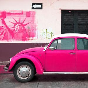 ¡Viva Mexico! Square Collection - Deep Pink VW Beetle Car and American Graffiti by Philippe Hugonnard