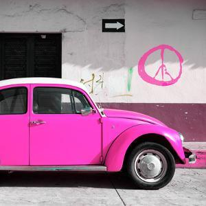 ¡Viva Mexico! Square Collection - Deep Pink VW Beetle Car & Peace Symbol by Philippe Hugonnard