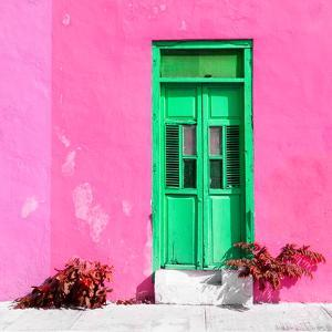 ¡Viva Mexico! Square Collection - Green Door & Pink Wall in Campeche by Philippe Hugonnard