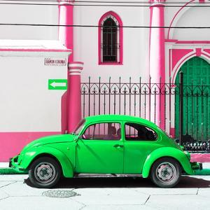 ¡Viva Mexico! Square Collection - Green VW Beetle in San Cristobal by Philippe Hugonnard