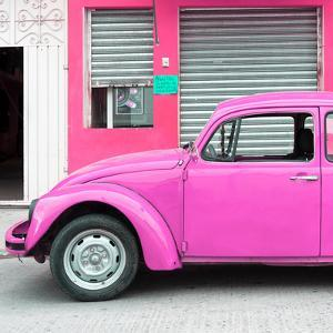 ¡Viva Mexico! Square Collection - Hot Pink VW Beetle and Pink Facade by Philippe Hugonnard