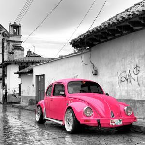 ?Viva Mexico! Square Collection - Hot Pink VW Beetle Car in San Cristobal de Las Casas by Philippe Hugonnard