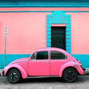 ¡Viva Mexico! Square Collection - Hot Pink VW Beetle - San Cristobal by Philippe Hugonnard