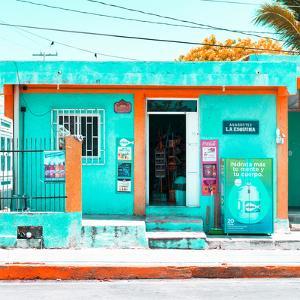 "¡Viva Mexico! Square Collection - ""La Esquina"" Coral Green Supermarket - Cancun by Philippe Hugonnard"