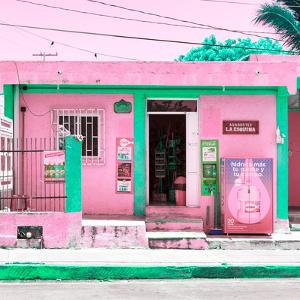 """¡Viva Mexico! Square Collection - """"La Esquina"""" Pink Supermarket - Cancun by Philippe Hugonnard"""