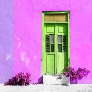 ¡Viva Mexico! Square Collection - Lime Green Door & Pink Wall in Campeche by Philippe Hugonnard
