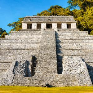 ¡Viva Mexico! Square Collection - Mayan Temple of Inscriptions in Palenque VI by Philippe Hugonnard