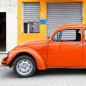 ¡Viva Mexico! Square Collection - Orange VW Beetle and Light Orange Facade by Philippe Hugonnard