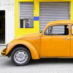 ¡Viva Mexico! Square Collection - Orange VW Beetle and Yellow Facade by Philippe Hugonnard