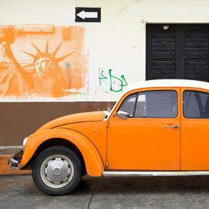 ¡Viva Mexico! Square Collection - Orange VW Beetle Car and American Graffiti by Philippe Hugonnard