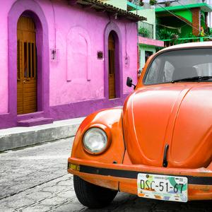 ¡Viva Mexico! Square Collection - Orange VW Beetle Car and Colorful House by Philippe Hugonnard